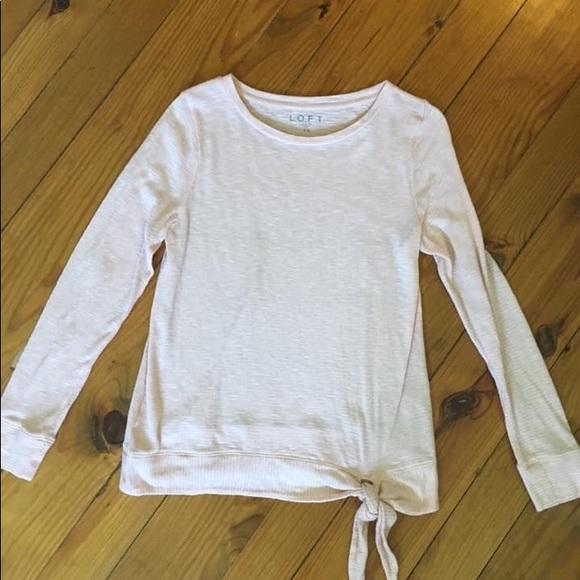 LOFT Tops - Blush long sleeve knotted shirt